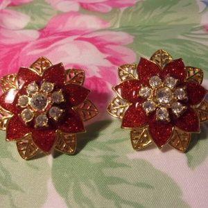 Avon Red Poinsettia Rhinestone Pierced Earrings